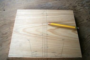 1. Measure bottom and side bevels on bow transom.