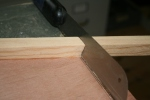 13. Cut compound bevel with pull saw.