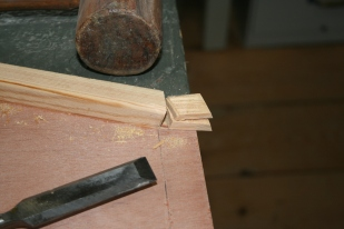 14. Clean up bevel cuts with chisel.
