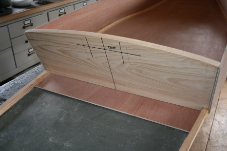 15. Cut radius on top of stern transom.