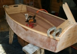 15. Gunwales fastened with Titebond and staples and clamped at ends.