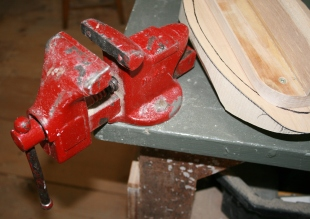 15. My machinist's vise is mounted on the bench corner to allow access from many angles.