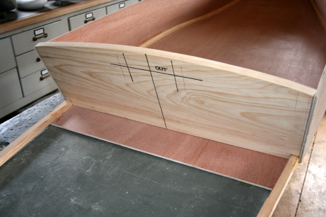 16. Lay out slot for hand-hole.