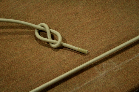 16. Use a figure-eight as a stopper inside transom.