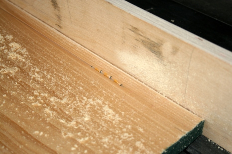 21. Chine logs are ripped on table saw.