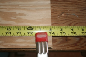 3. Begin laying out 12 x 74 inch grid by measuring lengths along sides.