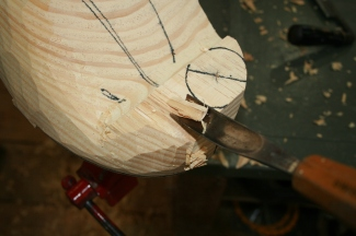 "33. Use the gouge around the neck - but leave plenty of ""extra"" for finer carving later."