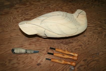 43. Lay out the lines once again - for finer relief carving with smaller tools.