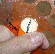 46. I use a circle template to mark rounded bill tip on underside of bill.