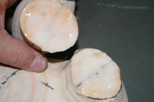 58. Spread glue thoroughly and generously on both head and neck mating surfaces.
