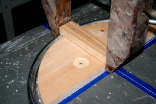 6. Conduit clamped at top before bending.