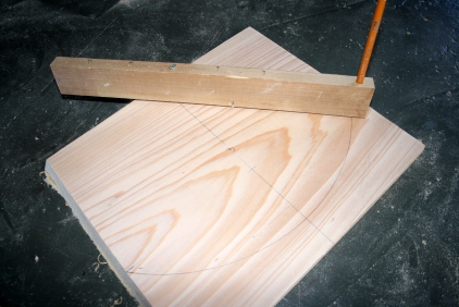 6. Lay out bow transom radius with beam compass.