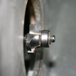 8. Three-sixteenth-inch round-over bit in router.