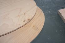 13. Drive brass escutcheon pins through bottom boards.