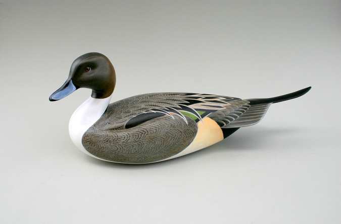Drake Pintail. Hollow pine (with hickory tail) in acrylics. $500