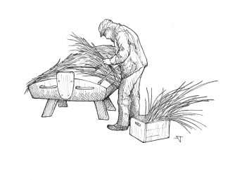 This drawing - of me thatching my first grassboat - has been used by South Shore Waterfowlers for numerous promotional purposes.