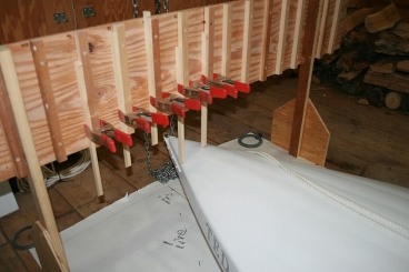 "9 - I built this jig to pick off 'buttock line"" offsets every 4 inches."