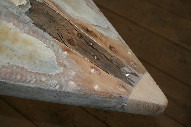 "1 - The White Oak keel tapers toward the new ""nose"" in the bow."