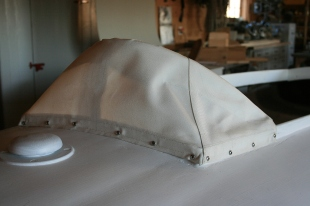 4 - Like the original, this Sunbrella cowling gets painted with the hull paint.