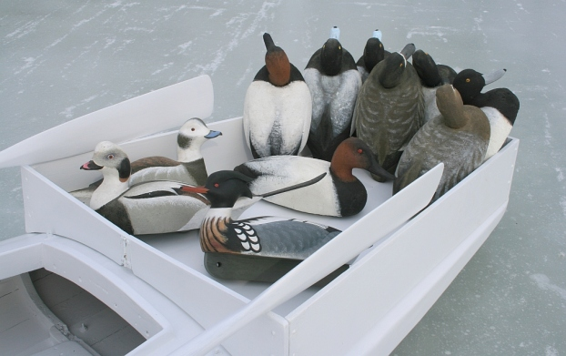 4 - The decoys - without anchors or lines - are just posing for portraits. The rack holds about 28 Herter's Model 72s on their tails.