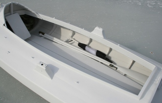 "7 - All the ""accessories"" are stowed below-decks while gunning. The stool rack goes beneath the afterdeck."