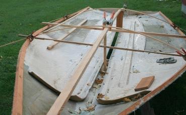 Limber battens are sprung at each bulkhead to establiush the deck crown.