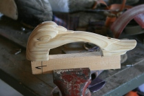 The bow handle is carved from treated Yellow Pine - a good tough wood.