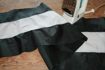4 - I sewed one long black & white banner to be cut into the 2 separate flags later.