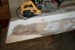11 - The dutchman is faired with the planer and a coarse belt in the sander.