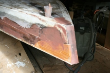13 - The sides were first coated with straight epoxy then fillers faired the contours.
