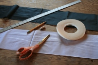 2 - Nylon cloth, measuring and cutting tools, and Seamstick to hold everything in place until the stitching is complete.