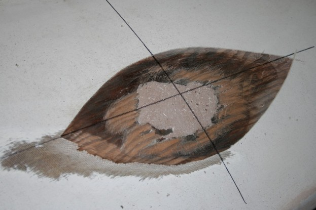 12 - I re-drew the centerlines after fairing the cured epoxy.