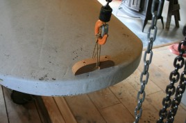 20 - I tacked on a temporary stern fairlead for hoisting.