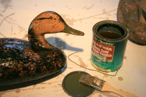 Then, I brushed on a very wet coat of spar varnish - to seal the cork so it would not drink up Great South Bay.