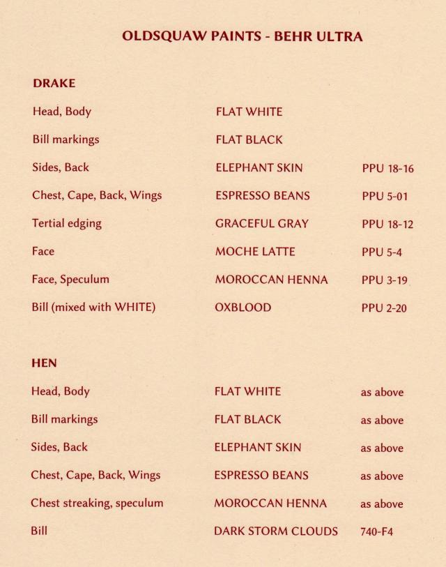 oldsquaw-paint-list